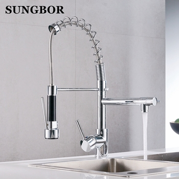 Kitchen Faucet Chrome Silver Brass Pull Out Spring Kitchen Sink Faucet Swivel Spout Tall Vessel Mixer Tap Torneira Para Cozinha