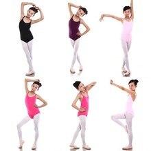 6-12Y Crianças Meninas Sem Mangas Ballet Algodão Terno Roupas de Dança Bodysuit Collant de Ginástica