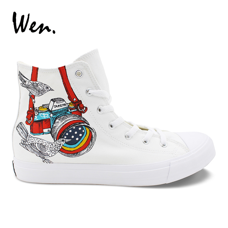 Wen Womens Shoes Casual White Design Colorful Digital SLR Camera Little Bird Hand Painted Shoes High Top Mens Canvas Sneakers wen design custom hand painted canvas fashion shoes colorful lipsticks high top shoes sneakers white graffiti shoes men women