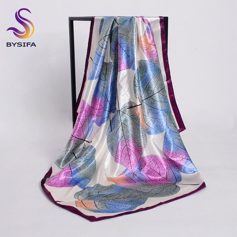 [BYSIFA] New Spring Silk Scarf Shawl Fashion Accessorries Muslim Women Head Scarf 90*90cm Elegant Leaves Pattern Square Scarves