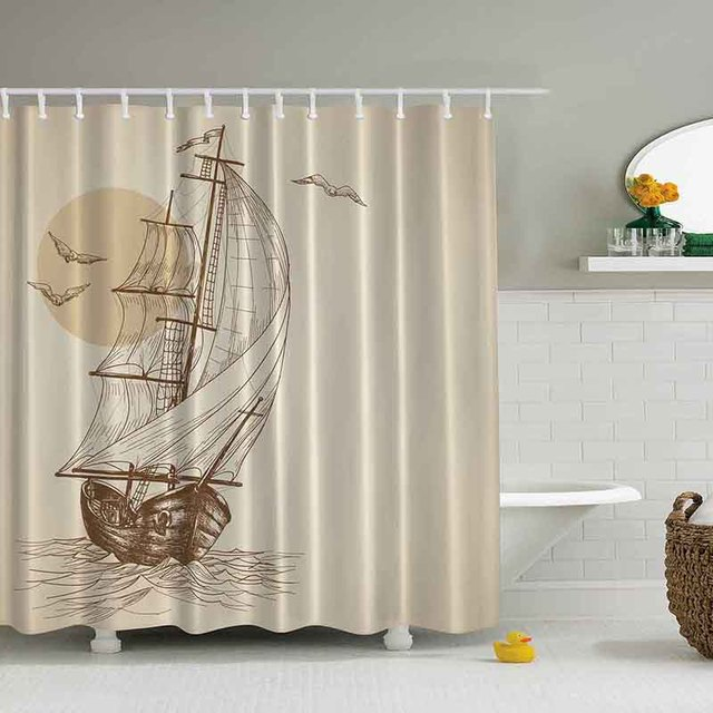 Shower Curtain Ocean Old Sailboat Waves With Marine Seabird At Sunset Scenery Beige 180