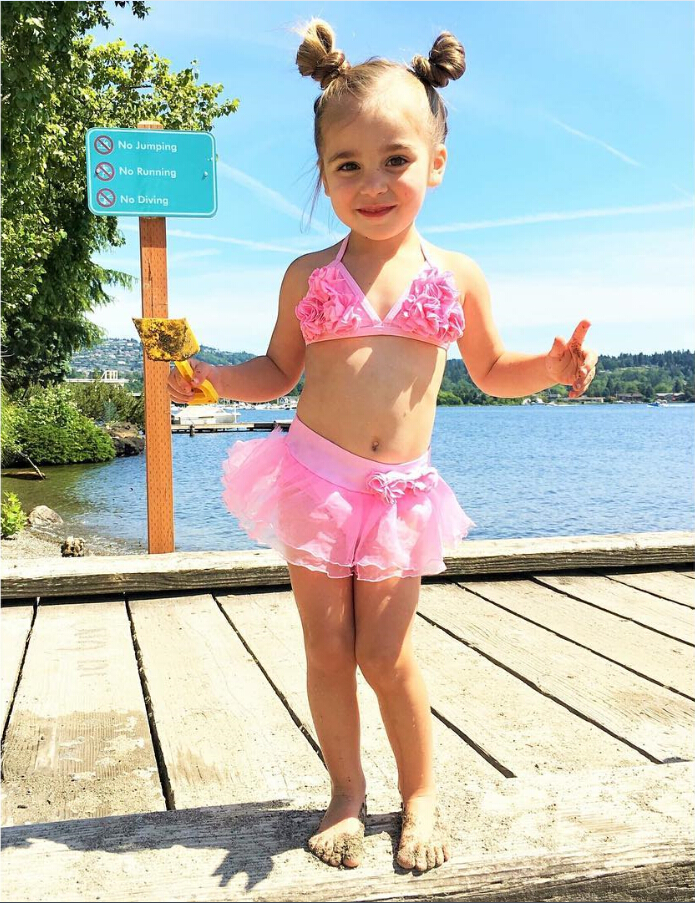 Kids Girl Children Pink Swimsuit Swimwear Kostium kąpielowy Bikini - Ubrania sportowe i akcesoria - Zdjęcie 2