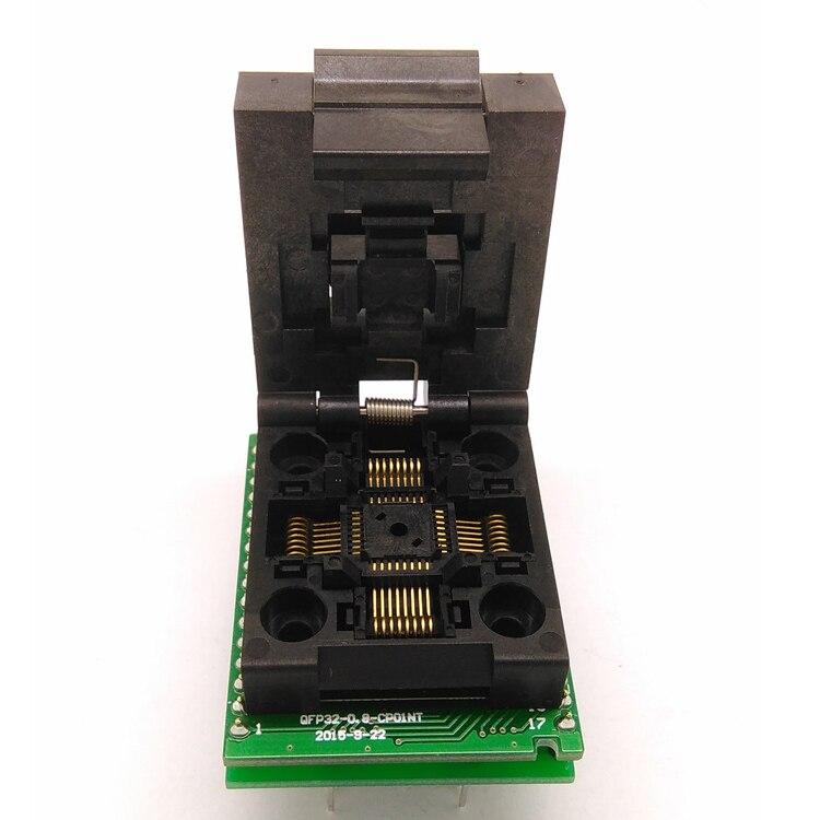 Universal IC Adapter QFP32 TQFP32 LQFP32 Clamshell IC51 0324 1498 Pitch 0.8mm Programming Socket Plug SMT/SMD Test Socket