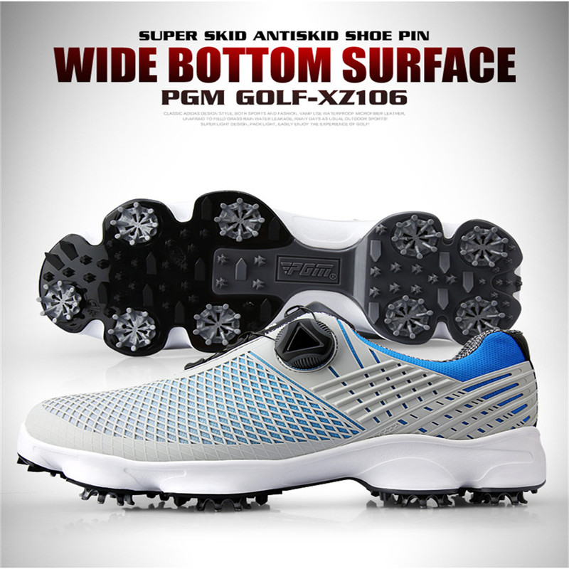 PGM New Golf Shoes Men s Waterproof Breathable Antiskid Sneakers Male Rotating Shoelaces Sports Spiked Trainers
