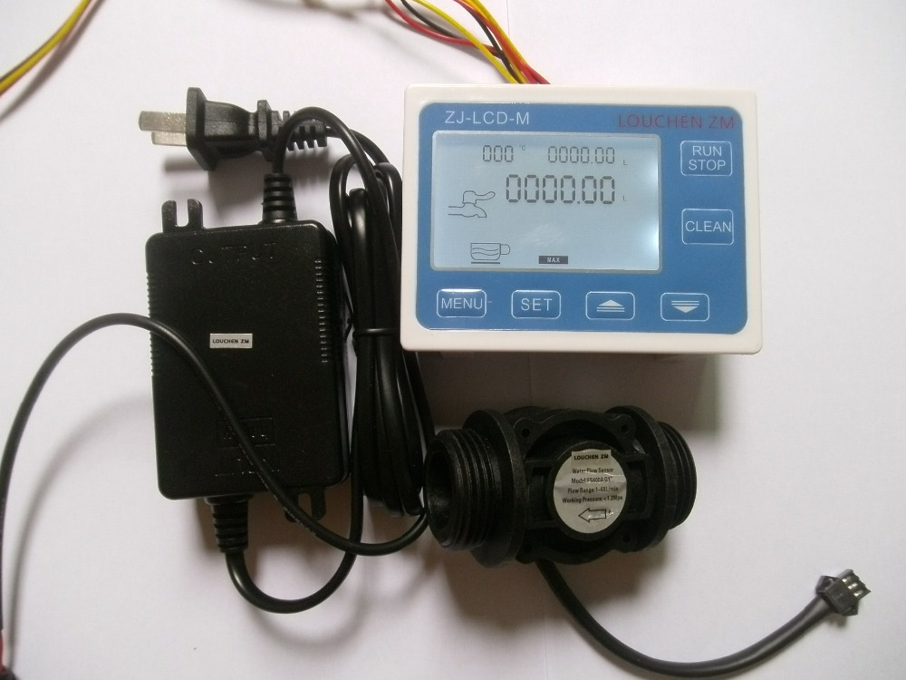 купить LOUCHEN ZM G1 Flow Water Sensor Meter+Digital LCD Display Quantitative Control 1-60L/min+24V power adapter дешево