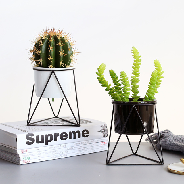 Geometric Iron Rack Holder Metal Stand Gold with White Ceramic Planter Desktop Garden Pot Succulents Plants Modern Decorative
