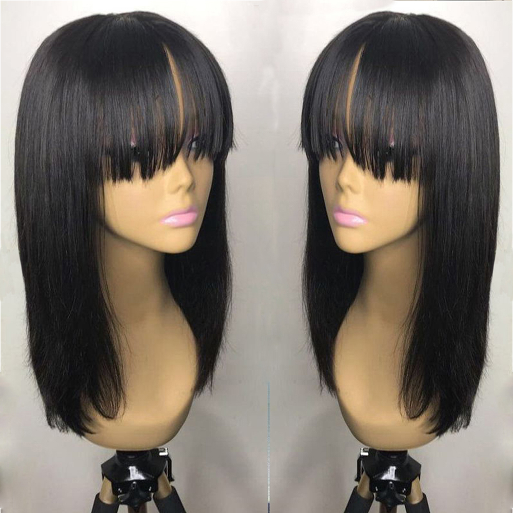 SimBeauty Peruvian Hair Full Fringe Wig Human Hair Glueless 360 Lace Frontal Wig With Bangs Bleached Knots Lace Wigs For Women