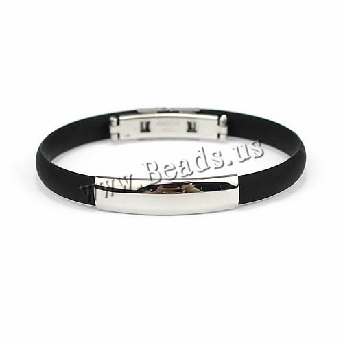 Free Shipping Stainless Steel Bracelet Black Silicone Cuff Bangles Adjustable Length Friendship Wristband Jewelry Bracelets
