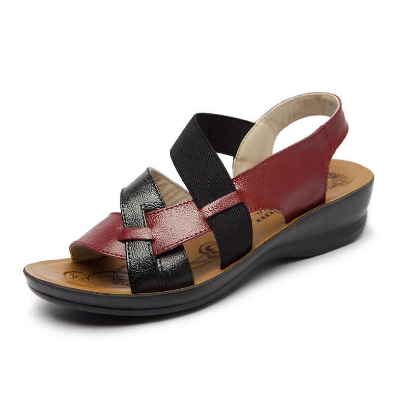 Leer Vrouwen Sandalen Zachte Bodem Moeder Sandalen Peep Toe Fashion Dames Sandalen 2019 Zomer Platte Sandalen Vrouwelijke Schoenen