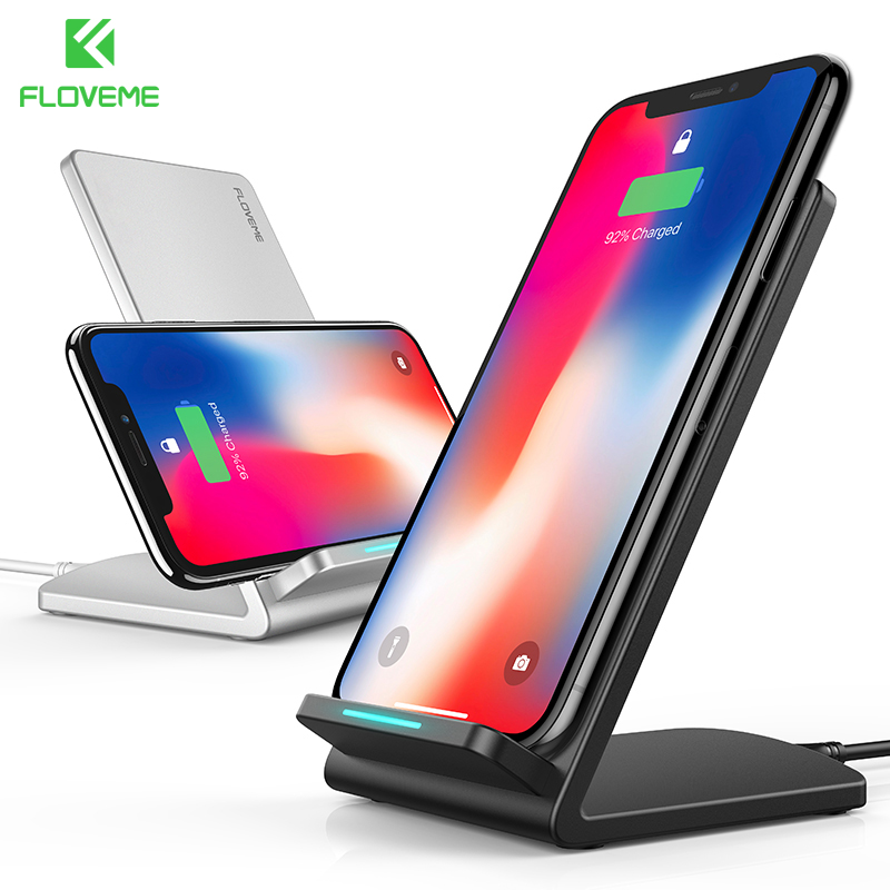 FLOVEME Wireless Charger For iPhone 8 X Plus 10W Wireless Charging QI Wireless Charger Fast For Samsung Galaxy S9 S8 S7 Edge Pad