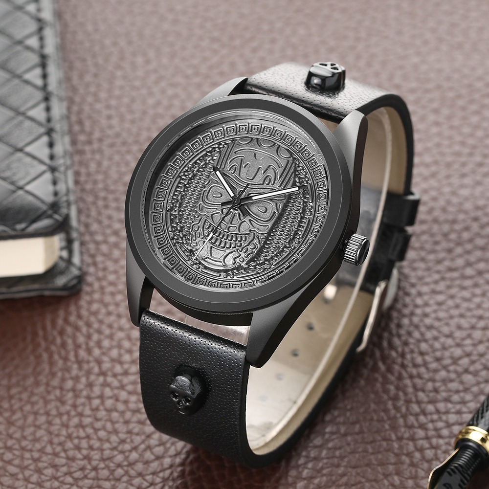 Skull Head Creative Quartz Wrist Watch Men Sport Antique Steampunk Genuine Leather Strap Wristwatch Bronze Pattern Dial Clock цены онлайн