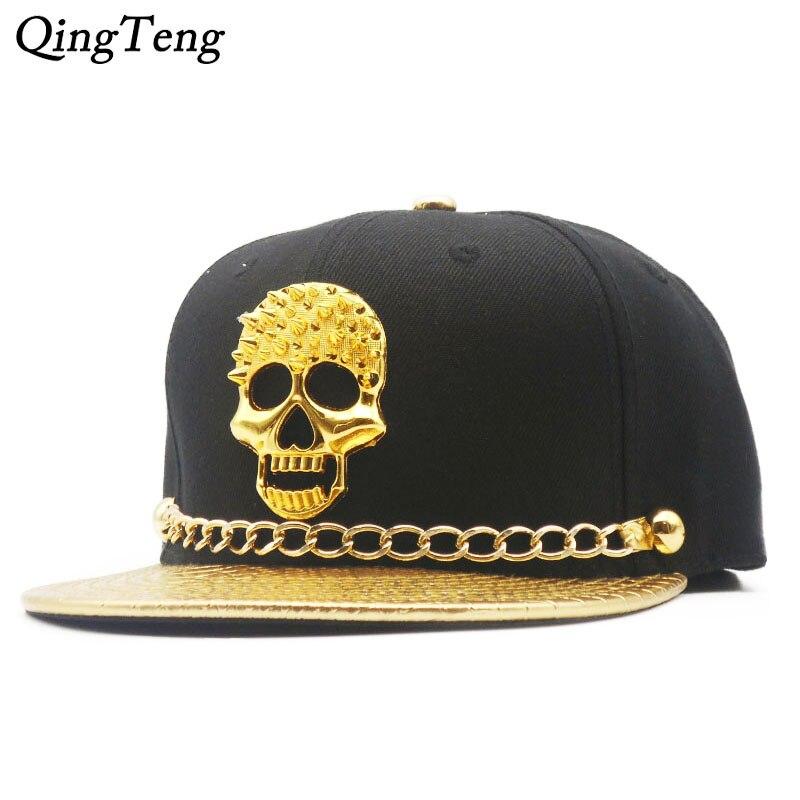 fc0d8325d375b Tampas Snapback Cap de Ouro Rebite Crânio Do Punk Hip Hop Logotipo PU  Viseira de couro
