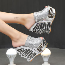 STAN SHARK Sexy High Heel Slope Gold Silver Personality Shaped Wedding Shoes Bridal Shoes 15 Cm Sandals Slippers