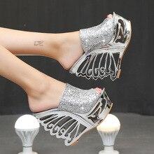 Stan 상어 섹시한 하이힐 슬로프 골드 실버 성격 모양의 결혼식 신발 신부 신발 15 cm 샌들 슬리퍼