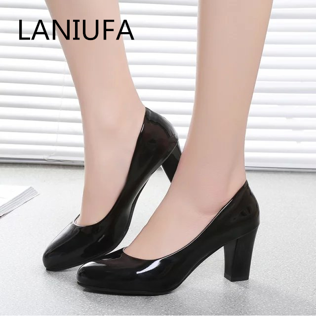 Women Pumps Autumn Thick Heel Dress Shoes Pu Leather Women Female Round Toe Slip-On High Heels Party Wedding Shoes Mujer #116