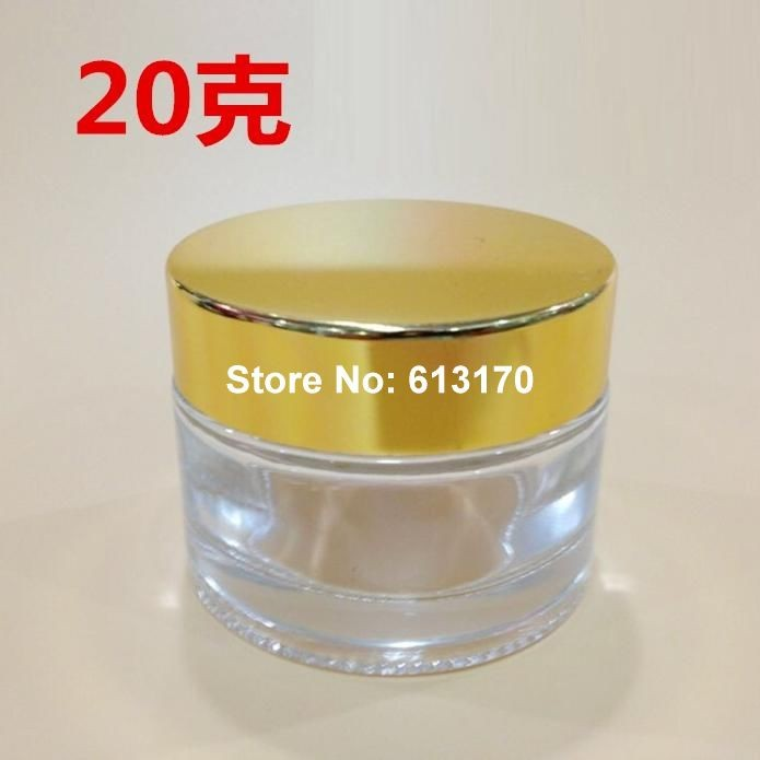 2297c04fcd32 US $31.09 15% OFF 20g 20ml Clear Glass empty cream Jar with Gold Aluminum  lid cosmetic packing Container refillable jars 50pc/lot-in Refillable ...