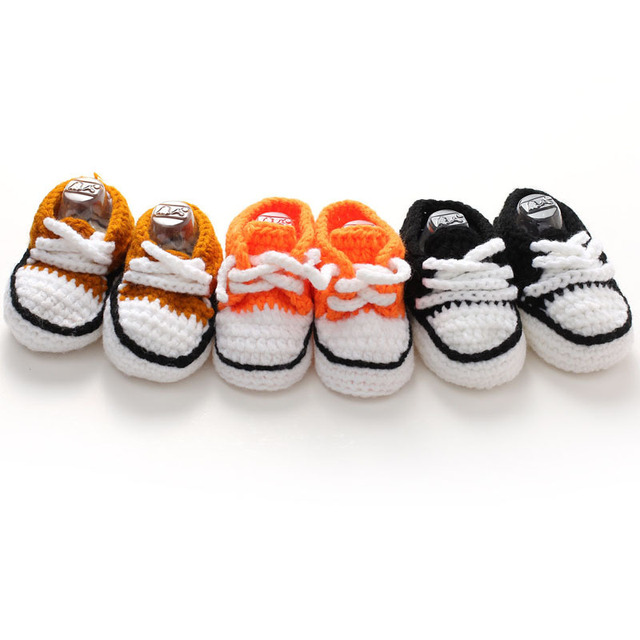 Multicolor Knitted Baby Crib Shoes Handmade Infant Crochet Booties Lace-up Newborn Shoes 10cm 1