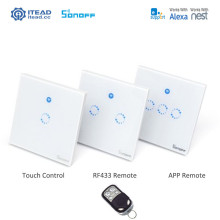 Sonoff T1 Smart WiFi RF / APP / Touch Control Wall Light Switch 1 2 3 Gang 86 Type UK Panel Wall Touch Light Switch Alexa Nest 86 smart switch wifi touch panel remote app control 2 gang wifi smart rf app touch control wall light timer switch z3