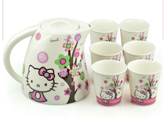 Ceramic Tea Cup Set Coffee Creative Cartoon Kawaii 7 In 1 Knit Hello Kitty