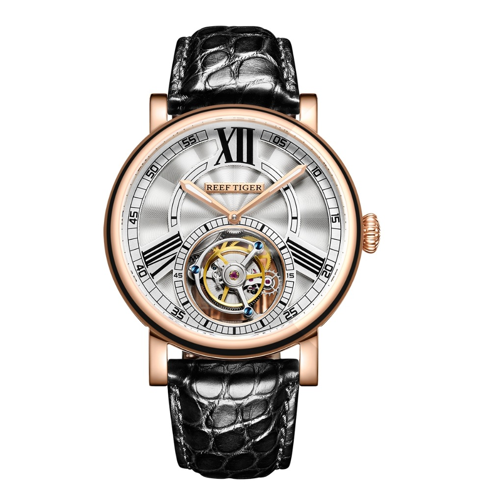Reef Tiger Classic Serier RGA1999 Men Hollow-out Dial Dress Real Tourbillon Automatic Self-wind Mechanical Wrist Watch -Rosegold купить недорого в Москве