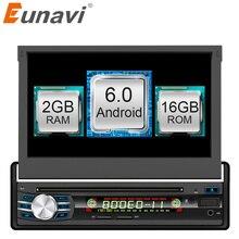 """Eunavi 2 GB + 16 GB Android 6.0 Universel Unique 1 DIN 7 """"voiture Radio Stéréo Quad Core Tête Unité Support Double Zone Volant Est Venu"""