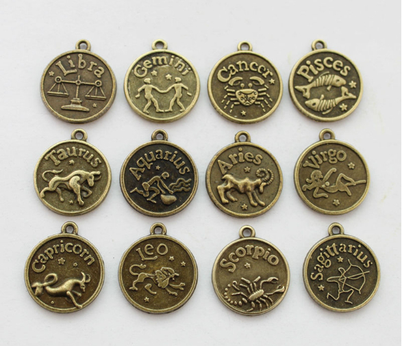 10 sets (120 pcs) Aneka Antiqued bronze Zodiac charms dua belas rasi bintang Logam sign pendant grosir