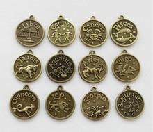 10 sets (120pcs) Assorted Antiqued bronze Zodiac charms twelve constellations Metal sign pendant wholesale