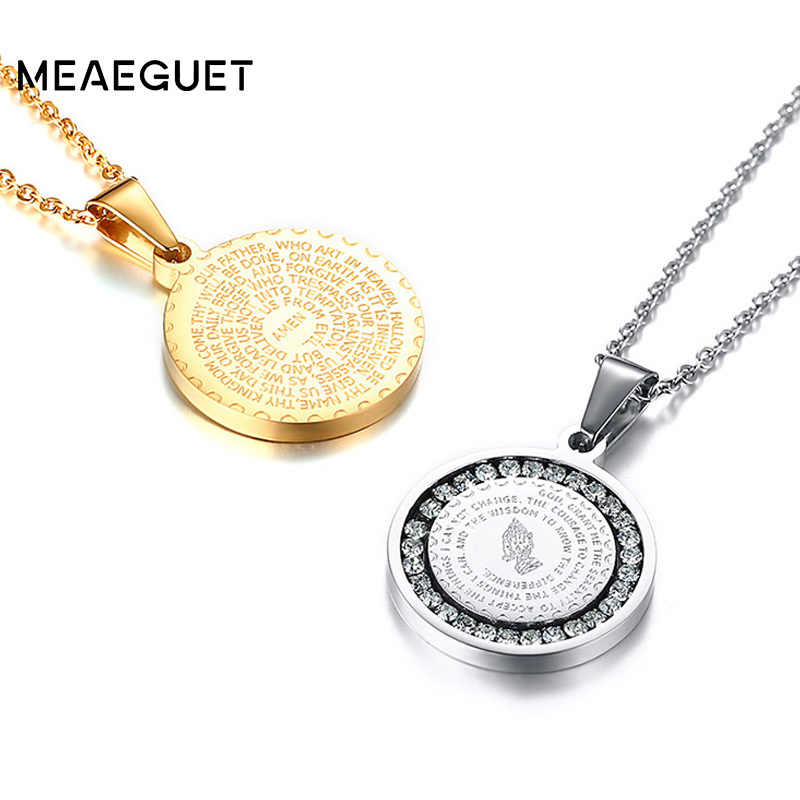 Hand Coin Medal Pendant Bible Verse Prayer Men Women Necklace Stainless Steel Gold Silver Couple Jewelry