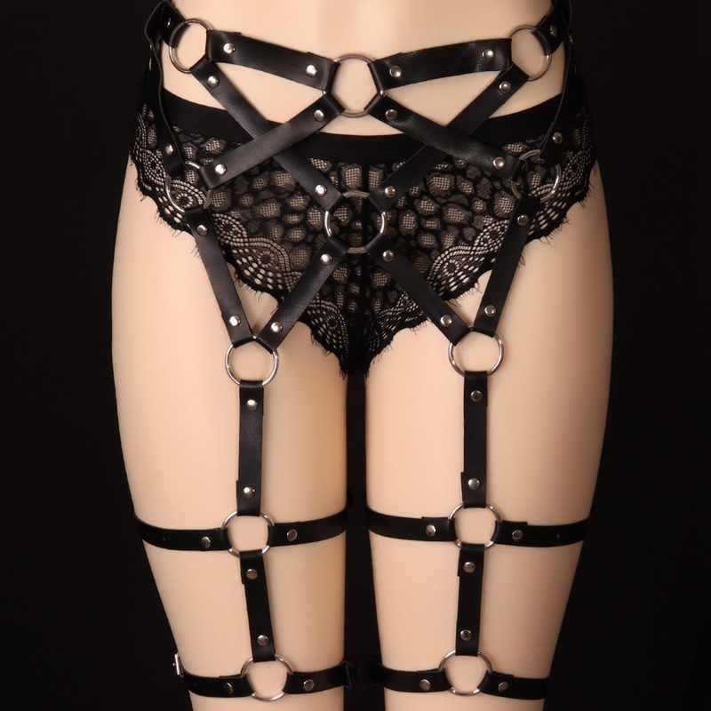 Moda mujer arnés cinturones ligueros atractivos cinturón de bondage Punk Correa banda de cintura a pierna tirante ajustable correas joyería del cuerpo