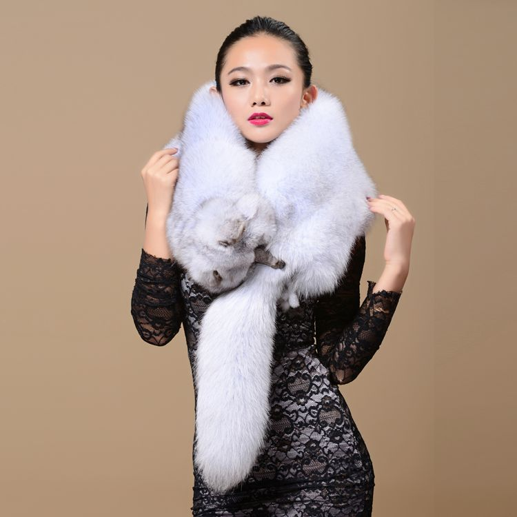 Real Fox Collar Scarf 100% Natural Fox Shawl For Women Scarves Genuine Fur Collar Warm Real Whole Fox Hood Big Fur Neck Female