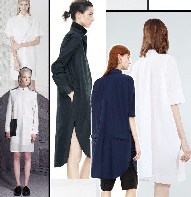7b53e2bf274127 2015 solid color high quality fashion women's acne studios shirt one-piece  dress White shirt long shirt