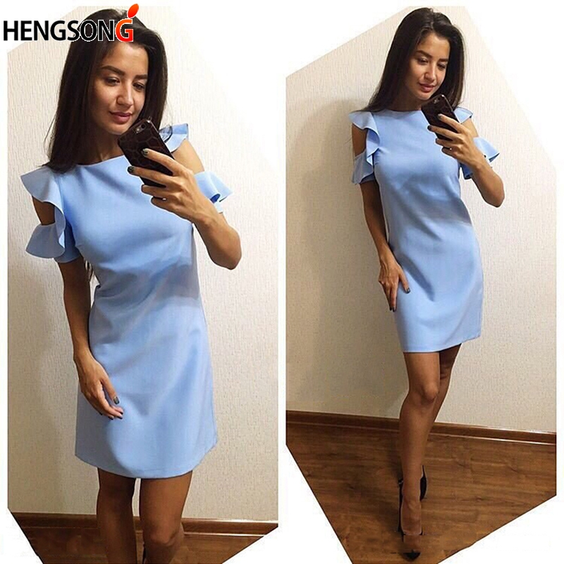 2018 New Women's Dresses Fashion Office Work Wear Short Sleeve Round Neck Summer Dress Casual Straight Mini Dress Female Dress