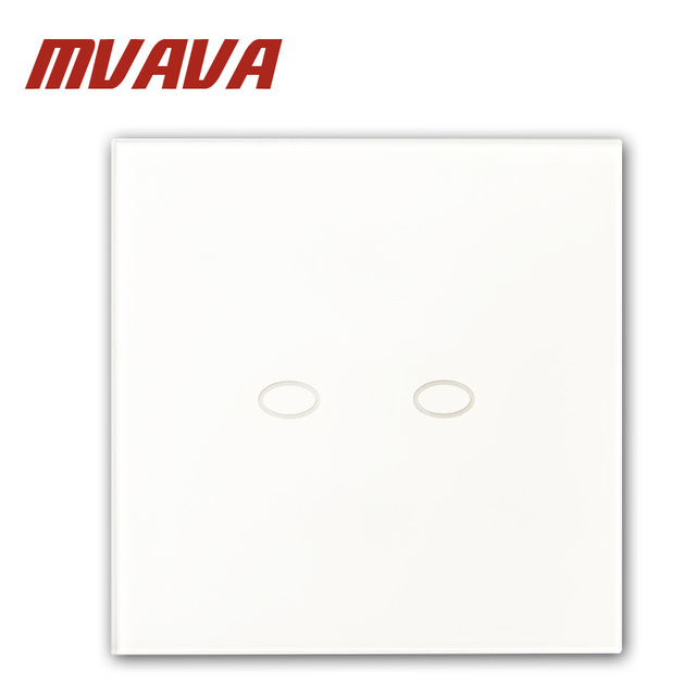 MVAVA Intelligent Touch 2 Gang Light Switch Wall Decorative Smart Control Automation Luxury White Crystal Panel Free Shipping smart home us au wall touch switch white crystal glass panel 1 gang 1 way power light wall touch switch used for led waterproof
