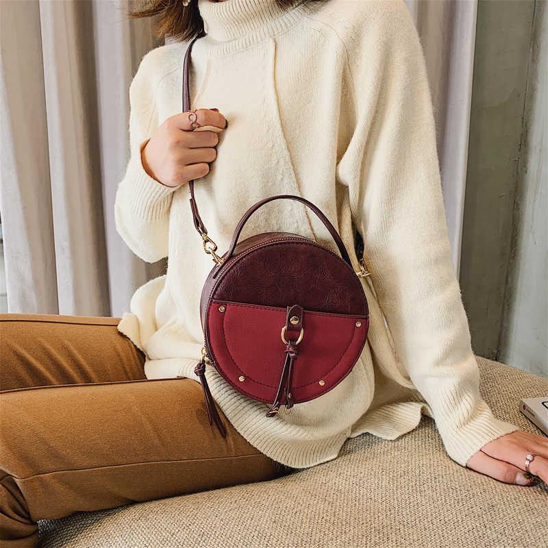 HOCODO gommage Vintage en cuir PU femmes sacs de messager dames petits sacs à main Mini sac fourre-tout rond dames sacs à bandoulière bandoulière