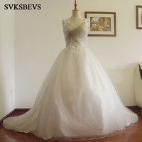 New A Line Crystal V Neck Spaghetti Straps Sleeveless Court Train Satin Bridal Wedding Dress Wedding