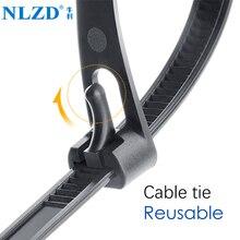 Разъемные нейлоновые кабельные стяжки может потерять slipknot галстук-бабочка упаковка многоразового использования Пластик молния галстук-бабочка, с ремешками вокруг; женская обувь, 8*150/200/250/300/400/450