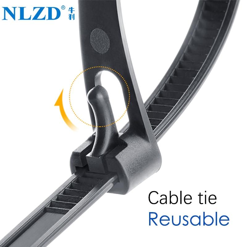 Releasable Nylon Cable Ties May Loose Slipknot Tie Reusable Packaging Plastic Zip Tie Wrap Strap 8*150/200/250/300/400/450