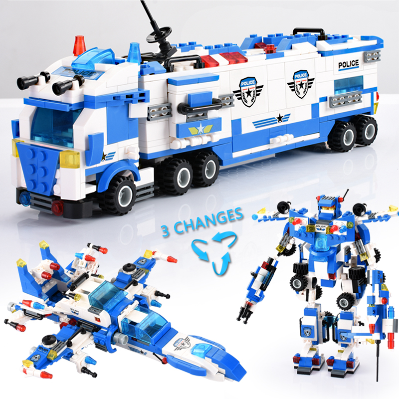 825 762PCS 8 IN 1 Robot Aircraft Car Building Blocks Compatible LegoINGly City Police Blocks Sets Creator Bricks Toys Children in Blocks from Toys Hobbies