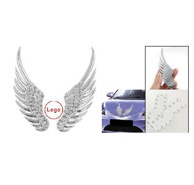 Car Logo Sticker Angel Wings Of Silver Alloy With Double Sided Tape
