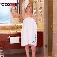Coxeer 2 Adet Bayan Wrap Banyo Havlusu Pamuk Nakış Ile Duş Havlu Süper Emici Giyilebilir Havlu Duş Cap Rastgele Renk