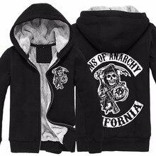 2016 mode Neue Männer Bodo Sons Of Anarchy Reißverschluss Dicker Pullover Winter Warm Baumwolle herren Sweatshirts Reißverschluss O-ansatz Mit Kapuze