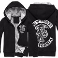 2016 Nova Moda Homens Sons Of Anarchy Bodo Zipper Hoodies Mais Grossos de Inverno Quente Camisolas Zipper O-pescoço dos homens do Algodão Com Capuz