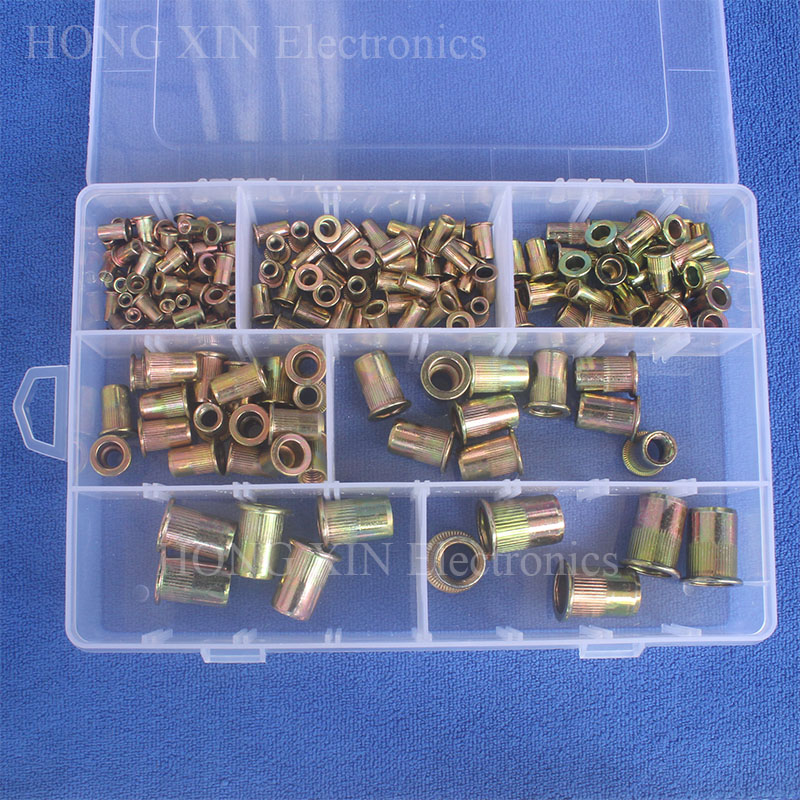 165pcs/set M3 M4 M5 M6 M8 M10 M12 Zinc Plated Knurled Nuts Rivnut Flat Head Threaded Rivet Insert Nutsert Cap Rivet Nut 165pcs m3 m4 m5 m6 m8 m10 m12 zinc plated knurled rivet nuts flat head threaded