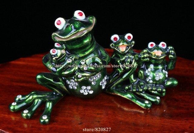 Frog Family Jewelled Trinket Box Frog Enamel Box Crystal Studded