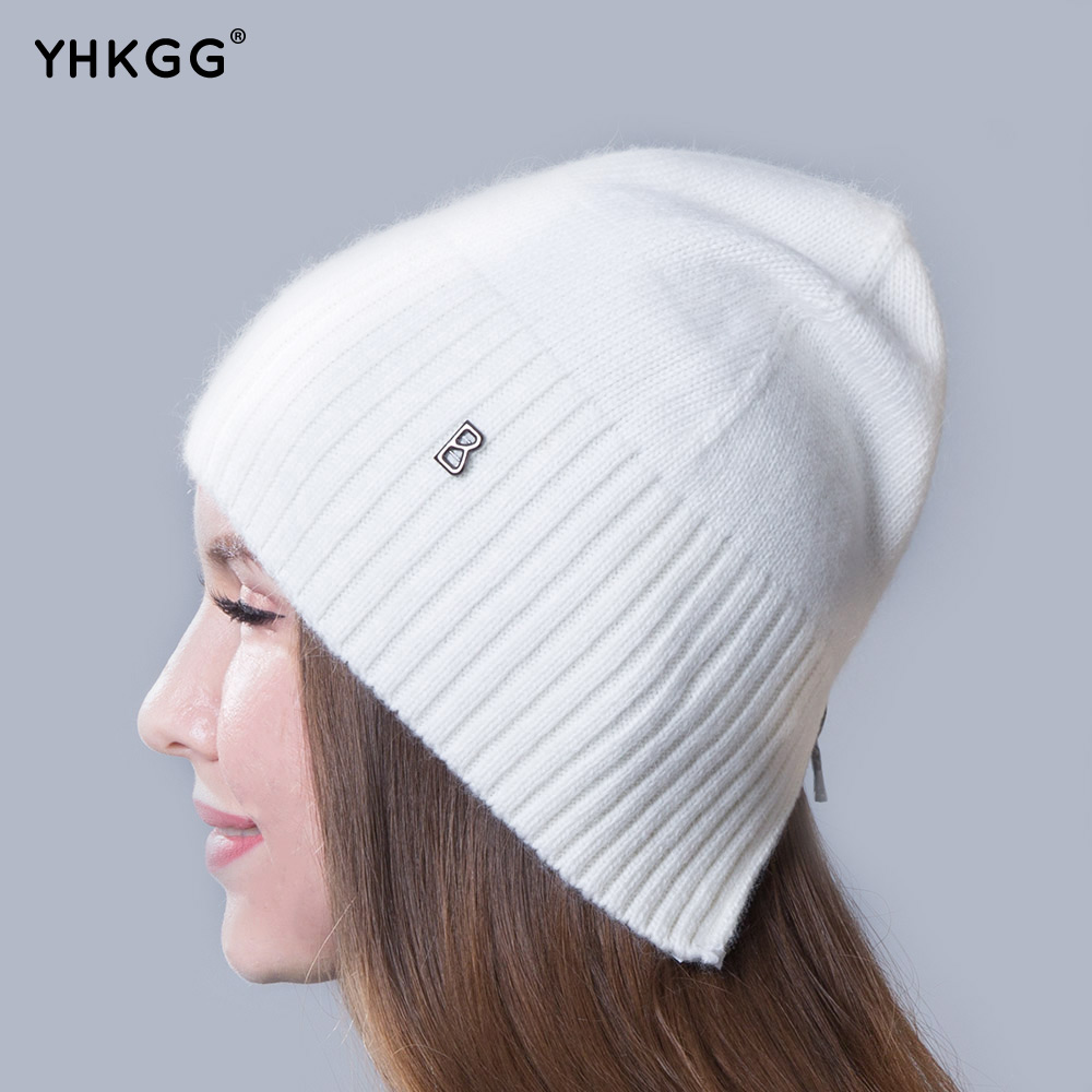 2017 newest fashion elegant pure ribbon striped cashmere Ms hat letters beanies gorros