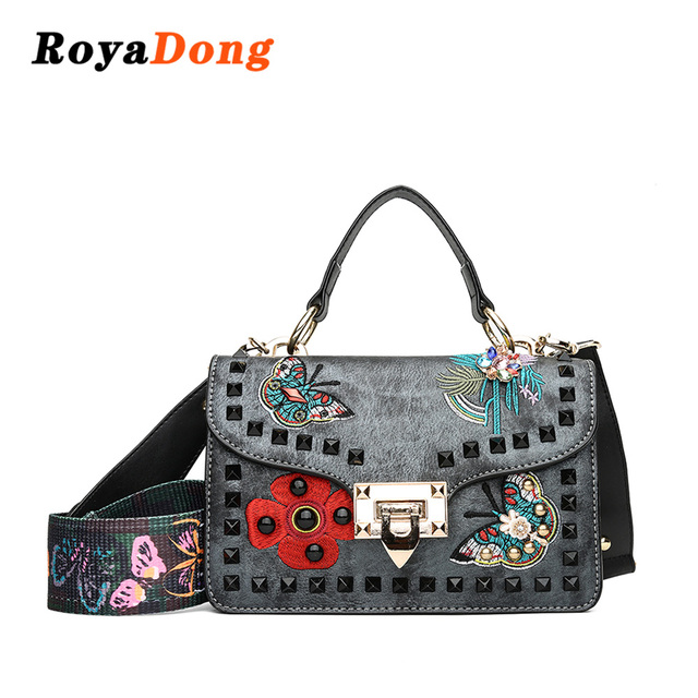 b5b9794846 RoyaDong 2018 New Brand Pu Leather Embroidery Pattern Square Package Women s  Handbags Rivet Design Shoulder Bag
