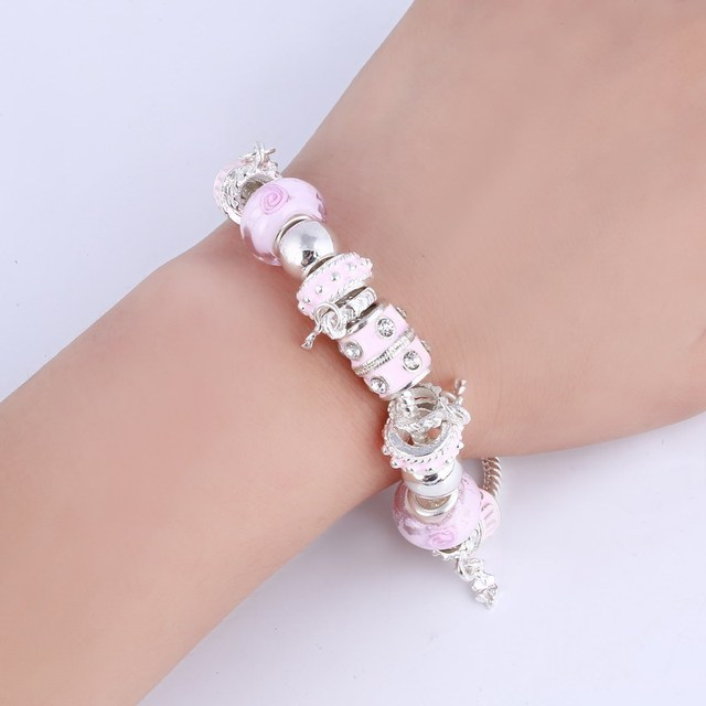 ZOSHI Pink Crystal Charm Silver Bracelets & Bangles for Women With Aliexpress Murano Beads Silver Bracelet Femme Jewelry 6
