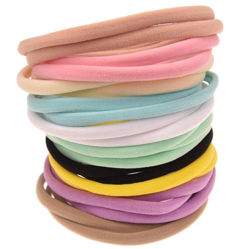 120 шт. мода нейлон Hairband мягкая эластичная повязка Chic лента для волос цветок аксессуары Головные уборы новорожденных ободки