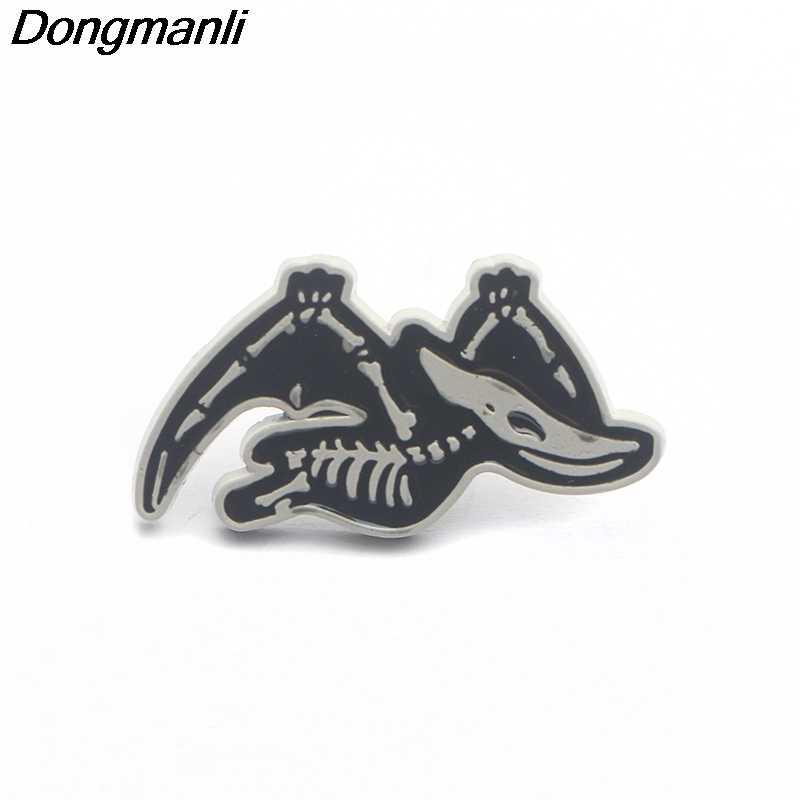 P3858 Dongmanli Busana Lucu Hewan Tengkorak Logam Enamel Bros dan Pin Koleksi Kerah Pin Ransel Lencana Kerah Perhiasan
