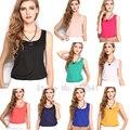 2014 летний новый S-XXXL размер женщин мода шифон рукавов топы жилет рубашки 15 конфеты цвет шифон свободную верхнюю рубашку blusas
